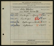 Entry card for Walter, John for the 1925 May Show.