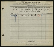 Entry card for Winsor, Martha Olmsted for the 1925 May Show.