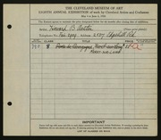 Entry card for Austin, Howard B. for the 1926 May Show.