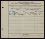 Entry card for Berkowitz, Benjamin B. for the 1926 May Show.