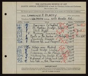 Entry card for Blazey, Lawrence for the 1926 May Show.