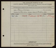 Entry card for Bowman, Mary for the 1926 May Show.
