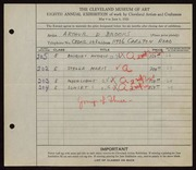 Entry card for Brooks, Arthur D. for the 1926 May Show.