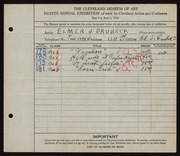 Entry card for Brubeck, Elmer J. for the 1926 May Show.