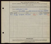 Entry card for Coe, Charles Martin for the 1926 May Show.