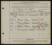 Entry card for Coit, Caroline E. for the 1926 May Show.