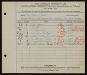 Entry card for Collins, Mary Susan for the 1926 May Show.