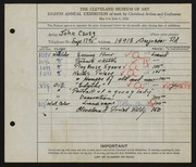 Entry card for Csosz, John for the 1926 May Show.