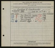 Entry card for Czechowski, Chester V., and Caxton Company for the 1926 May Show.