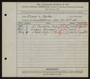 Entry card for Deike, Clara L. for the 1926 May Show.