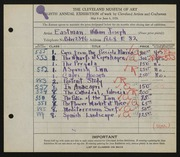 Entry card for Eastman, William Joseph for the 1926 May Show.