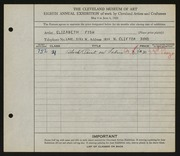 Entry card for Fish, Elizabeth for the 1926 May Show.