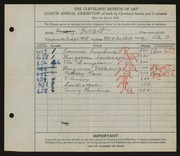 Entry card for Gellert, Emery for the 1926 May Show.