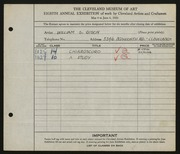 Entry card for Gisch, William S. for the 1926 May Show.