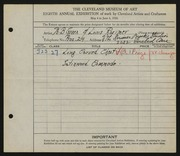Entry card for Green, William B., and Rorimer, Louis; Rorimer-Brooks Studios for the 1926 May Show.