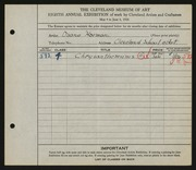 Entry card for Harmon, Walter Duane, and Cleveland School of Art for the 1926 May Show.