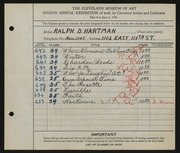Entry card for Hartman, Ralph D. for the 1926 May Show.
