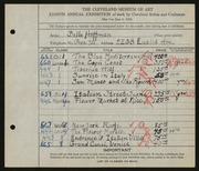 Entry card for Hoffman, Belle Mildred for the 1926 May Show.