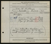Entry card for Hoffman, Otto William for the 1926 May Show.