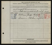 Entry card for Incorvaia, Joseph for the 1926 May Show.