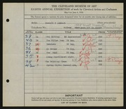 Entry card for Limbach, Russell T. for the 1926 May Show.