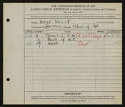 Entry card for Mewett, Alfred, and Cleveland School of Art for the 1926 May Show.