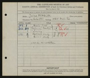 Entry card for Mihalik, Julius for the 1926 May Show.