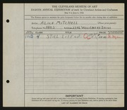 Entry card for Mitchell, Alice for the 1926 May Show.