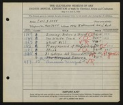 Entry card for Neff, Earl J. for the 1926 May Show.