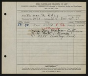Entry card for Palmer & Riley, and Rose Iron Works, Inc. for the 1926 May Show.