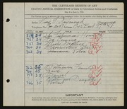 Entry card for Raymond, Mary E. for the 1926 May Show.
