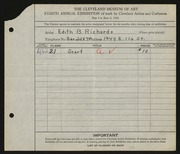 Entry card for Richards, Edith B. for the 1926 May Show.