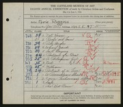 Entry card for Riggins, Marie for the 1926 May Show.