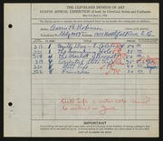 Entry card for Robinson, Carrie B. for the 1926 May Show.