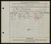 Entry card for Rosenberg, Ruth for the 1926 May Show.