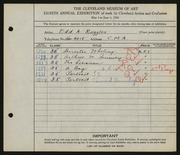Entry card for Ruggles, E. A. (Edd Alvah) for the 1926 May Show.