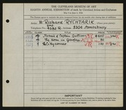 Entry card for Rychtarik, Richard for the 1926 May Show.