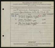 Entry card for Sampson, Florence for the 1926 May Show.