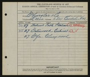 Entry card for Schwegler & Company for the 1926 May Show.