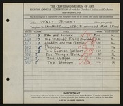 Entry card for Scott, Walter E. for the 1926 May Show.