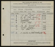 Entry card for Seaver, Hugh for the 1926 May Show.