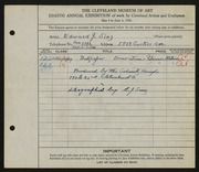 Entry card for Sinz, Edward J., and Schmitz-Horning Company for the 1926 May Show.