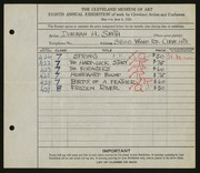Entry card for Smith, Dorman H. (Dorman Henry) for the 1926 May Show.
