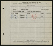 Entry card for Smith, Frank W. for the 1926 May Show.