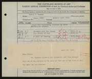 Entry card for Sommer, Edwin G., and Kokoon Arts Club (Cleveland, Ohio) for the 1926 May Show.