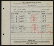 Entry card for Sommer, William for the 1926 May Show.