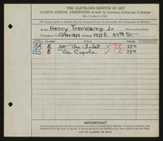 Entry card for Trenkamp, Henry Jr. for the 1926 May Show.