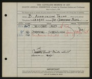 Entry card for Tripp, B. Ashburton for the 1926 May Show.