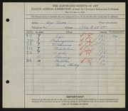 Entry card for Tuura, Alpo S. for the 1926 May Show.