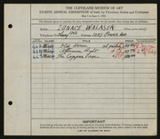 Entry card for Walasek, Ignace for the 1926 May Show.